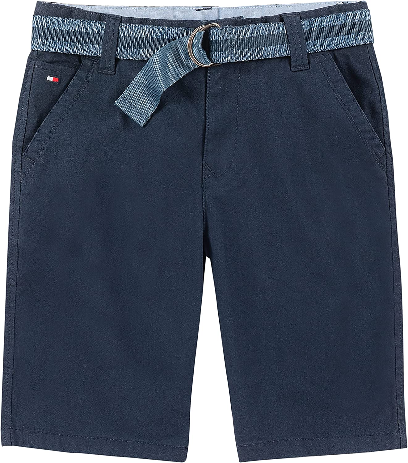 Tommy Hilfiger Boys' Belted Flat-Front Chester Twill Short, 4 Functional Pockets, Zip & Button Closure