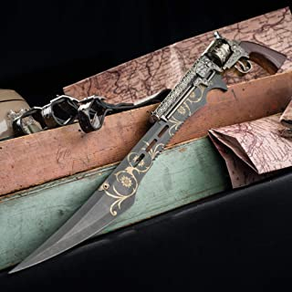K EXCLUSIVE Otherworld Steampunk Gun Blade Sword with Nylon Shoulder Sheath - Antique Finish, Laser-Etched and Engraved Accents, Spinning Barrel - 26