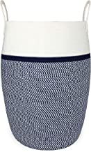 Inspack Large Woven Laundry Hamper,Bedroom Wicker Thickened Collapsible Tall Rope Dirty Clothes Basket,Round Rolling Mesh ...
