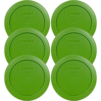 Pyrex Green 2 Cup Round Storage Cover #7200-PC for Glass Bowls - 6 Pack