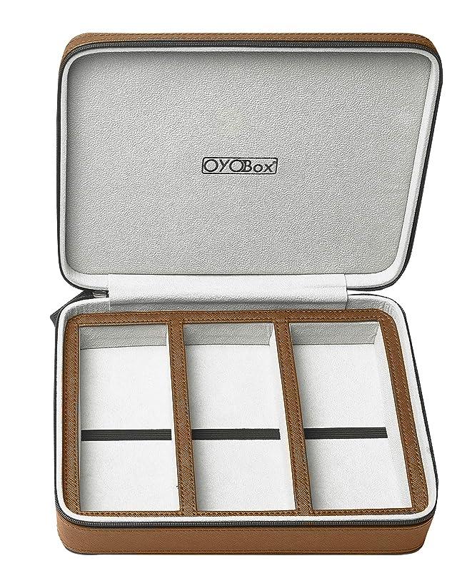 スペード一緒議題OYOBox アイウェア トラベルケース ラグジュアリー 3スロットオーガナイザー 複数のメガネとサングラス用