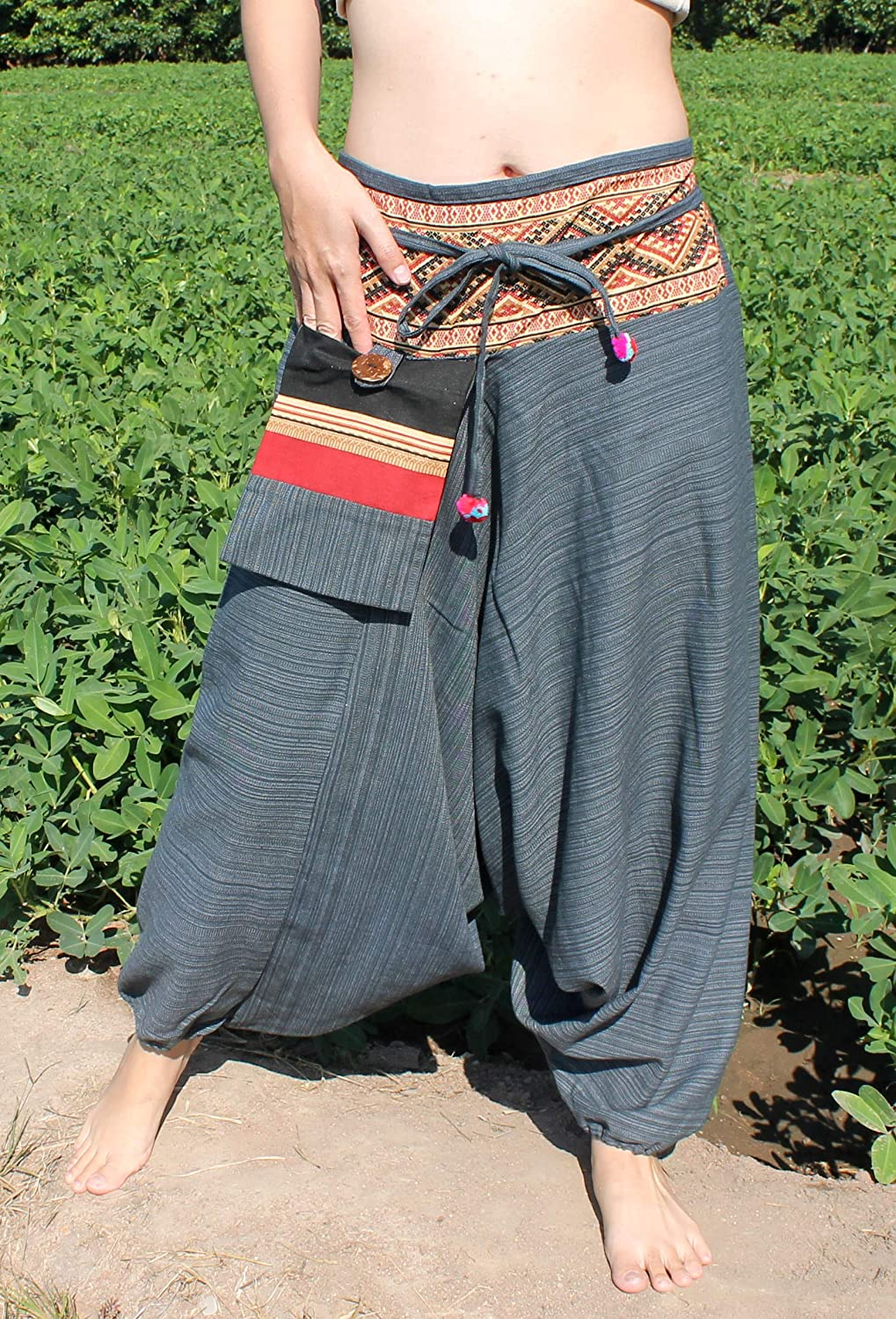 RaanPahMuang Stripe Cotton Patch Waist with Hanging Pocket Mao Hill Tribe Pants