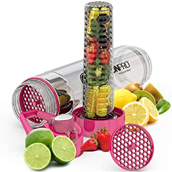 Infusion Pro Premium Fruit Infused Water Bottle (2 Pack or 1 Pack) Insulating Sleeves and Flavored Water Recipe eBook...
