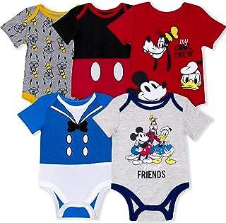 Disney Baby Jungen Einteiler mit Mickey, Donald, Goofy für Säuglinge und Neugeborene, 5 Stück