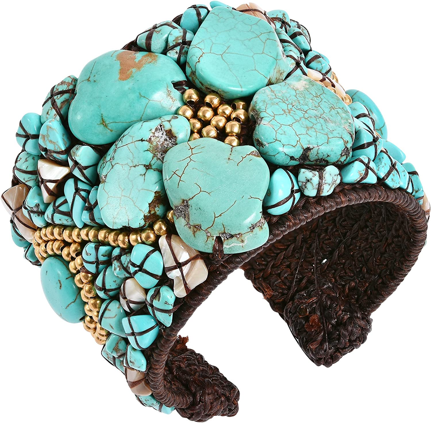 AeraVida Simulated Turquoise Slab Abstract Floral Statement Beaded Cuff Bracelet
