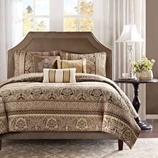 Madison Park Bellagio Full/Queen Size Quilt Bedding Set - Brown, Jacquard Damask – 6 Piece Bedding Quilt Coverlets – Faux Silk Bed Quilts Quilted Coverlet