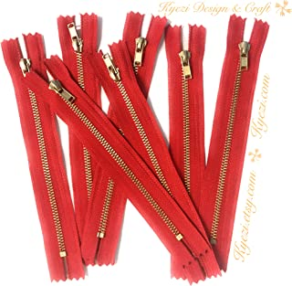10 pcs Brass Gold Metal Teeth Zippers - Fast Shipping [Kyezi Design & Craft] (Red, 9 inch)