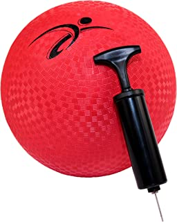 Fitness Factor 10 Inch Red Rubber Playground Ball with Air Pump for Inflatable Balls - Official Size Kickball and Medium to Large Kids Dodgeball and Foursquare Ball