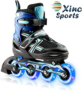 XinoSports Adjustable Kids Inline Skates for Girls & Boys with Light Up Wheels (Ages..