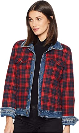 Reversible Plaid and Denim Trucker Jacket in American Pie