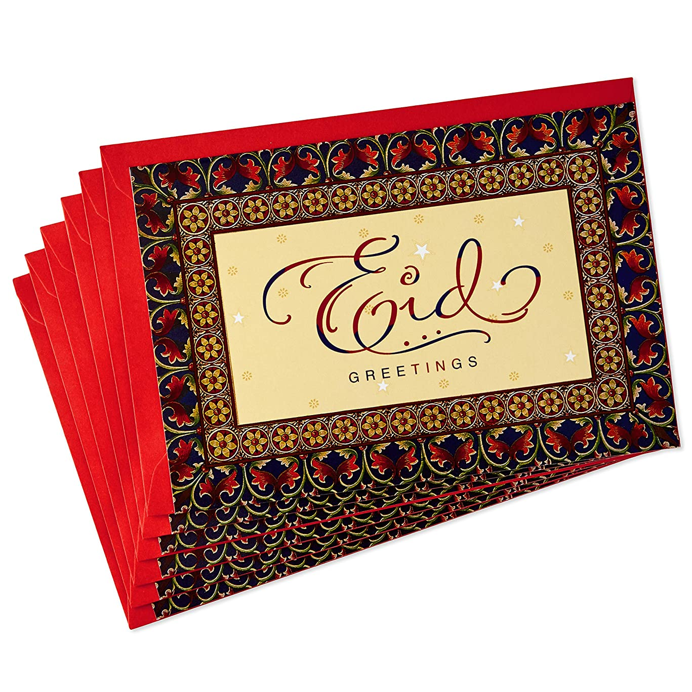 Hallmark Pack of Eid al-Fitr or Eid Al-Adha Cards, Best Wishes (6 Cards with Envelopes)