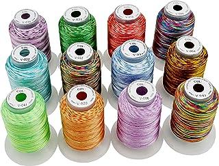 New brothread 12 Multi Farben Polyester Maschinen Stickgarn 500M 550Y für Brother/Janome/Singer/Babylock/Kenmore/Pfaff/Bernina/Husqvaran Stickereimaschine