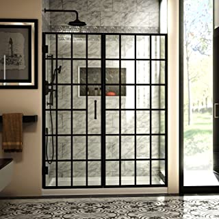 black hinged shower door