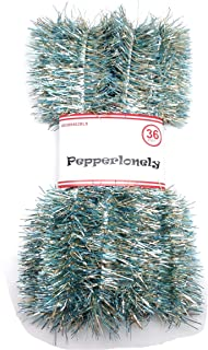 PEPPERLONELY 36 FT Christmas Tinsel Garland Classic Christmas Decorations, Light Blue/Champagne