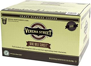 Verena Street Single Cup Pods (80 Count) Dark Roast Coffee, Nine Mile Sunset, Rainforest Alliance Certified Arabica Coffee, Compatible with Keurig K-cup Brewers