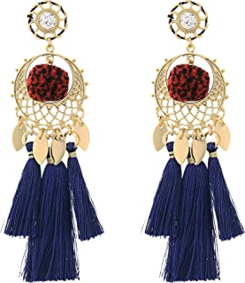 Rebecca Minkoff Womens Tassel and Pom Drama Chandelier Earrings