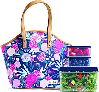 Fit & Fresh Insulated Lunch Bag Kit, includes Containers, Davenport Navy Lorella Posy