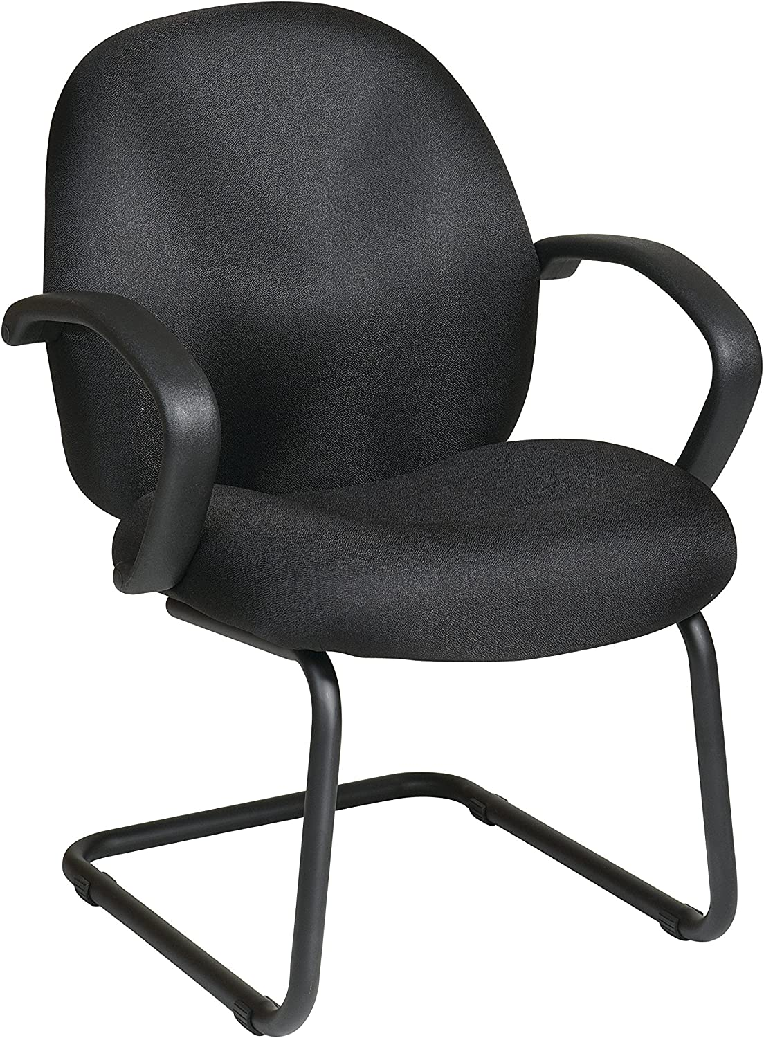 Work Smart Office Star Conference Visitors Chair with Padded Fabric Contour Seat and Back, Fixed Arms, and Sled Base, Black