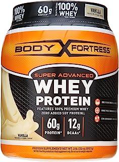 Body Fortress Super Advanced Whey Protein Powder, Plus Creatine and Glutamine, Gluten Free, Vanilla, 32 Ounce (2lb)
