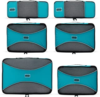 PRO Packing Cubes - 6 Set - Ultimate Travel Packing Cube System for Luggage Compression Backpacks Tote Bags & Weekender Bags (Aqua Blue)