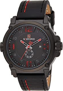 Naviforce Men's Black Dial Genuine Leather Analogue Classic Watch - NF9099-BRB