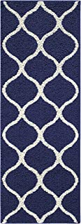 Maples Rugs Runner Rug-Rebecca Non Skid for Kitchen and Entryway, 1'9 x 5', Navy Blue/White