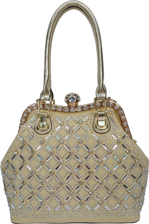 Satispac Women's Grid Pattern Shiny Rhinestone Tote Bag