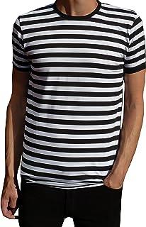 Mens Nautical bianco e nero a righe t-shirt Mod Tee