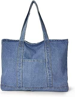 Hoxis Light Weight Soft Denim Tote Unisex Shopper Shoulder Handbag