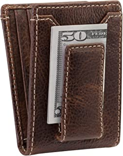 HOJ Co. IVAR ID BIFOLD Money Clip Wallet-Full Grain Leather-Magnetic Front Pocket Wallet