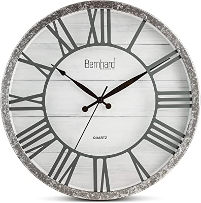 Bernhard Products Large Wall Clock 16 Inch Noiseless Galvanized Farmhouse