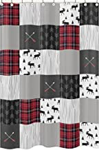 Sweet Jojo Designs Grey, Black and Red Woodland Plaid and Arrow Bathroom Fabric Bath Shower Curtain for Rustic Patch Collection - Flannel Moose Gray