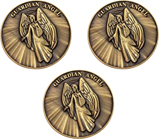 Guardian Angel Christian Challenge Coin, Bulk Pack of 3, Pass Along Token of Assurance and Peace, Handout for Sunday Schoo...