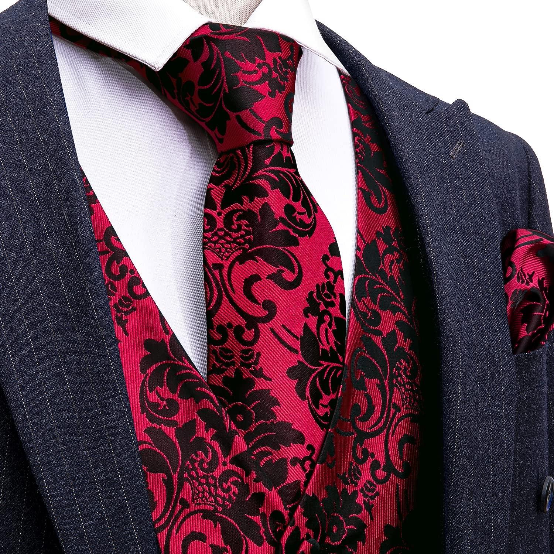 Barry.Wang Mens Paisley V-neck Suit Vest Formal/Leisure Silk Jacquard Waistcoat Tie Set 5PCS