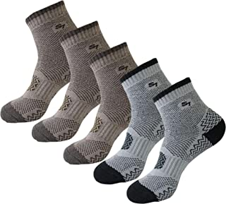 SEOULSTORY7 Men's Full Cushion Mid Quarter Ankle Length Hiking Socks