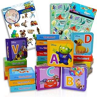 Disney Alphabet Book Bundle Disney Board Books Set ~ 26 Disney Pixar Alphabet Learning Books Disney Board Books For Toddle...