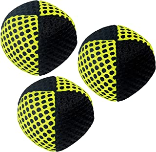 Speevers Xballs Juggling Balls Professional Set of 3 Fresh Design - 10 Beautiful Colors Available - 2 Layers of Net Carry Case - Choice of The World Champions (Black - Yellow)