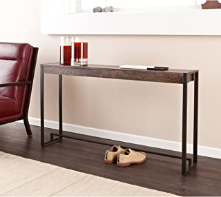 Macen Media Skinny Console Table - Slim Profile - Burnt Oak Wood Finish w/ Metal Frame