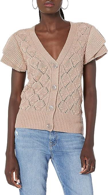 The Drop Women's Isha Ruffle Shoulder Sleeve Cardigan Sweater