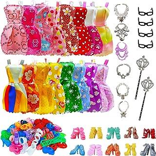 32 piezas de accesorios para muñecas, ropa de barbie, 10x vestidos lindos mezclados, 10x zapatos, 4X gafas, 6X collares, 2...