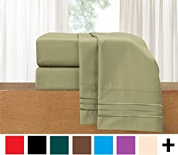 Elegant Comfort Luxury Wrinkle,Fade and Stain Resistant 1500 Thread Count Egyptian Quality 4-Piece Bed Sheet Set, Deep Pocket, 100% HypoAllergenic, Queen Size, Sage