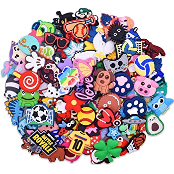 YEALQUE 30,50,70,100,150,200pcs Different Random PVC Shoe Charms Decorations For Clog Shoes Kids Girls Teens Gifts