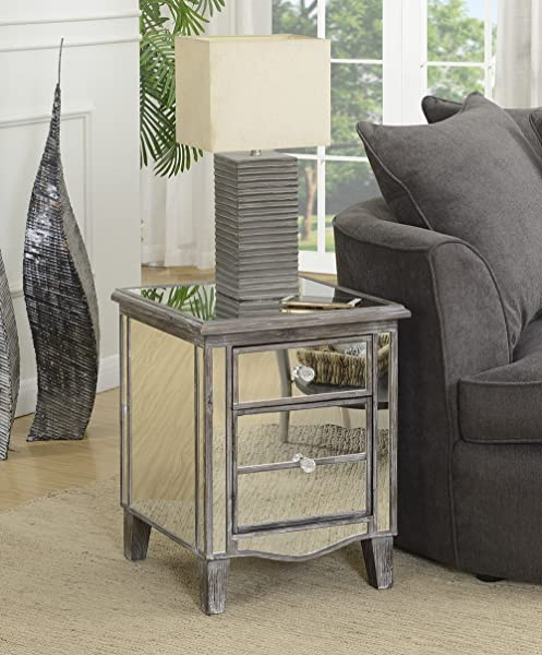 Convenience Concepts 413551WGY Gold Coast Mirrored End Table Weathered Gray