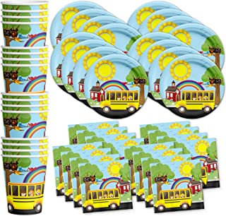 School Bus Birthday Party Supplies Set Plates Napkins Cups Tableware Kit for 16 by Birthday Galore