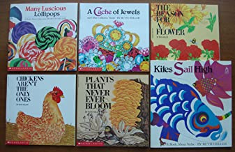 Ruth Heller Set of 6 Books (Kites Sail High: A Book About Verbs ~ A Cache of Jewels and Other Collective Nouns ~ Many Lucious Lollipops: A Book about Adjectives ~ The Reason for a Flower ~ Chickens Aren't the Only Ones ~ Plants That Never Ever Bloom)