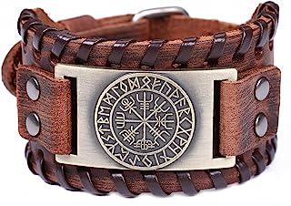 comprar comparacion Fishhook Norse Viking Vegvisir Brújula 24 Amulet Runes Talismán Brazalete de Cuero