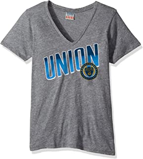 Junk Food MLS Philadelphia Union Women's Short Sleeve V-Neck Top, Small, Steel