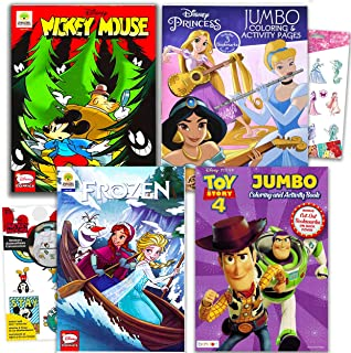 Disney Comics and Coloring Books Super Set ~ Set of 4 Disney Books Featuring Mickey Mouse, Frozen, Disney Princesses and T...