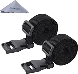 Luggage Strap, Wisdompro 2-Pack of Heavy Duty Straps - Utility Strap for Outdoor Sports, Backpacking, Sleeping Bag Compression, Luggage, Bundling, with MOLLE Gear Quick Release Buckle - 48 inches
