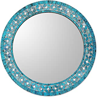 NOVICA MI0043 Turquoise Blossom' Glass Mosaic Wall Mirror